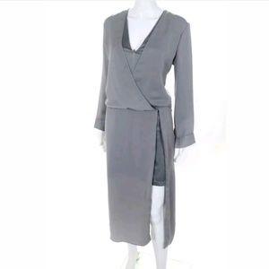 HALSTON HERITAGE Faux Wrap Gray Dress